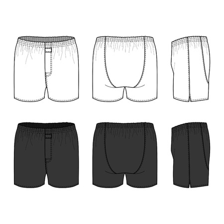 nightwear: Blank male underwear set in front, back and side views. Vector illustration. Isolated on white.