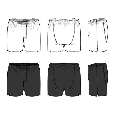 ropa interior: Ropa interior masculina en blanco situado en frente, atr�s y lateral. Ilustraci�n del vector. Aislado en blanco.