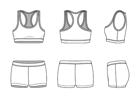 Blank female sports suit in front, back and side views. Vector illustration. Isolated on white.