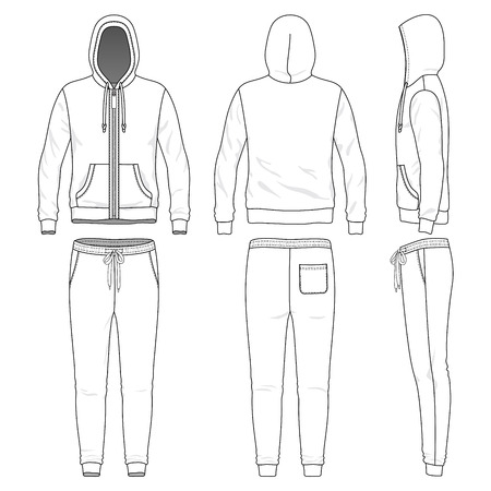 Blank male sweat suit in front, back and side views. Vector illustration. Isolated on white. Ilustração