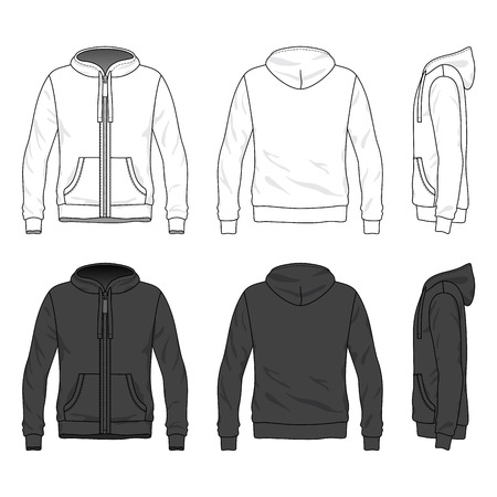 Blank male hoodie with zipper in front, back and side views. Vector illustration. Isolated on white.