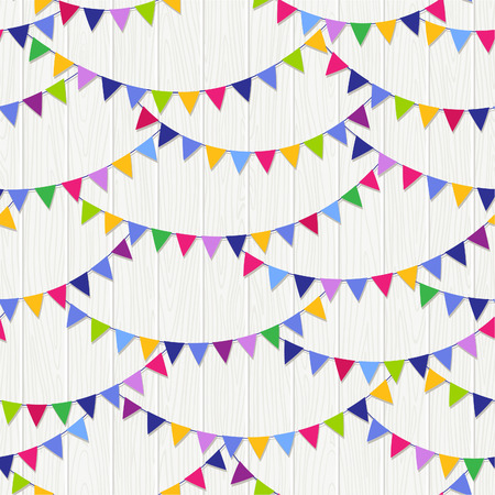 Seamless bunting flags pattern on the wood background. Vector illustration.