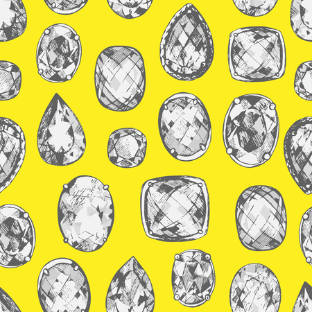 Seamless pattern of hand drawn precious stones on the yellow background.