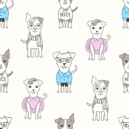 Seamless pattern with cute little dogs for your design, textile, cards or wallpaper.