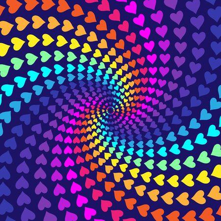 desktop wallpaper: Arco iris de fondo abstracto con corazones para que el dise�o, dise�o web, fondo de escritorio o p�gina web. Ilustraci�n del vector.