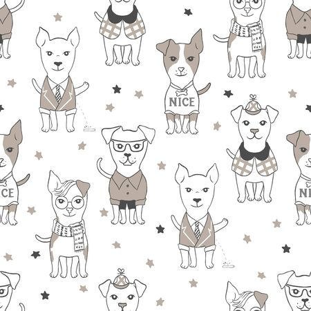 Seamless pattern with dogs for your design, textile, cards or wallpaper.