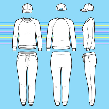 Front, back and side views of womens clothing set. Blank templates of sweatshirt, cap and sweatpants. Sport style. Vector illustration on the striped background for your fashion design.