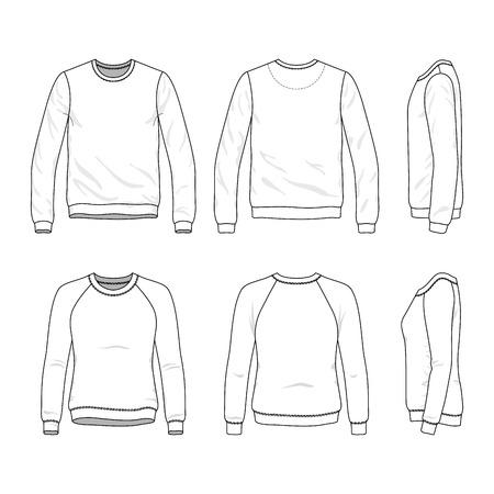 Blanco Heren en Dames sweatshirt aan de voorkant, achterkant en zijaanzichten