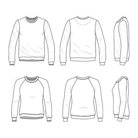 sleeved: Blank Mens and Womens sweatshirt in front, back and side views