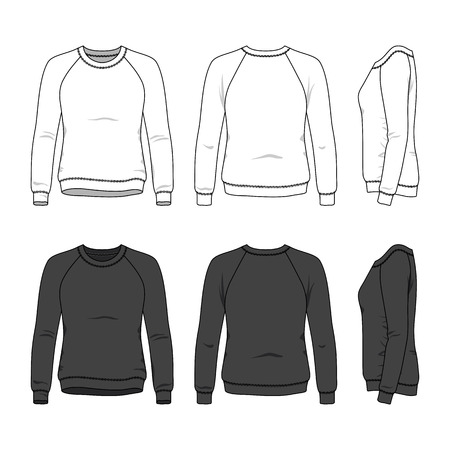 Blank womens sweatshirt in front, back and side views