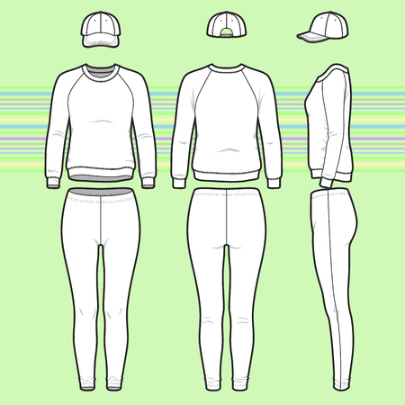 Front, back and side views of women's clothing set. Blank templates of sweatshirt, cap and leggings. Casual style. Vector illustration on the striped background for your fashion design.