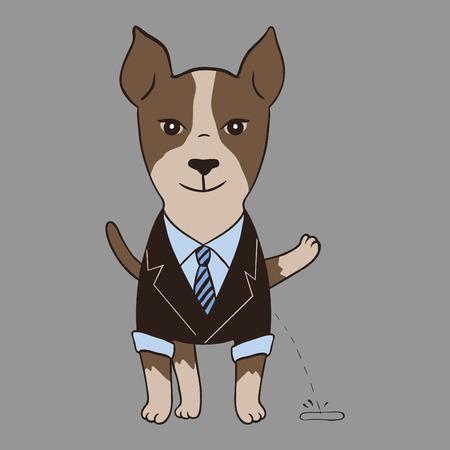 Perro Rowdy en traje. Vector estilo de dibujos animados. Vectores