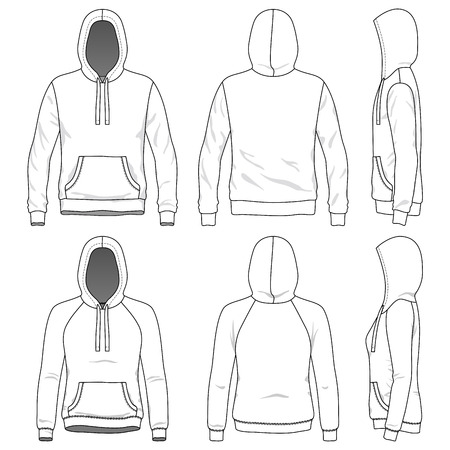 sleeved: Blank Mens and Womens hoodies in front, back and side views