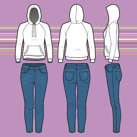 cowl: Front, back and side views of womens clothing set. Blank templates of hoodi and jeans. Sport style. Vector illustration on the striped background for your fashion design.