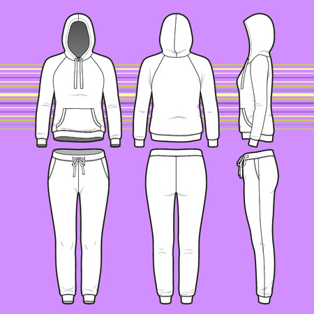 cowl: Front, back and side views of womens clothing set. Blank templates of hoodi and sweatpants. Sport style. Vector illustration on the striped background for your fashion design.
