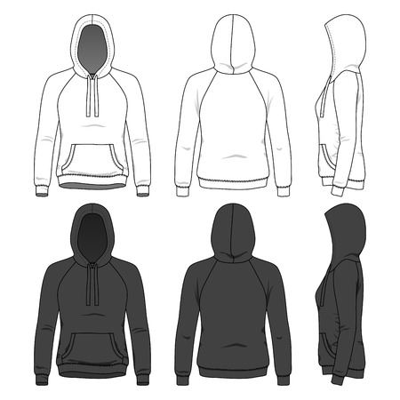 sleeved: Blank Womens hoodie in front, back and side views Illustration