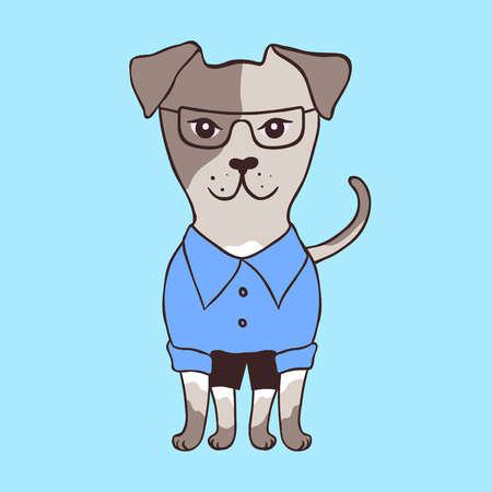 Cute little dog in glasses. Cartoon style. Vector illustration. Illustration
