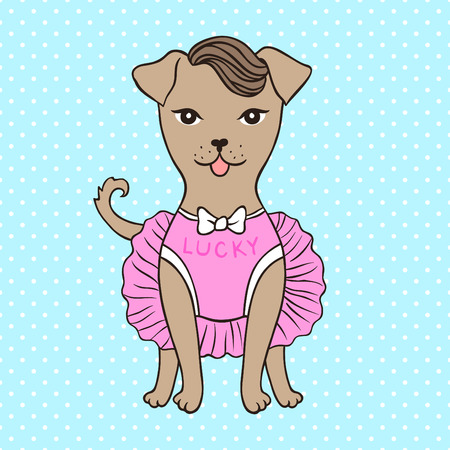 Cute little dog in pink dress. Cartoon style. Vector illustration.