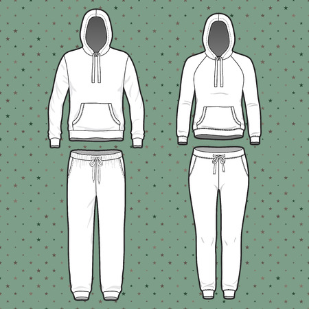 Front view of mens and womens clothing set. Blank templates of hoodi and sweatpants. Sport style. Vector illustration on the spotted background for your fashion design.