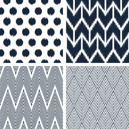 roughness: Set of abstract background. Modern seamless patterns in black and white colors for textile and wallpaper. Vector illustration.