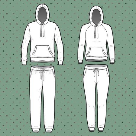 Front view of men's and women's clothing set. Blank templates of hoodi and sweatpants. Sport style. Vector illustration on the spotted background for your fashion design.