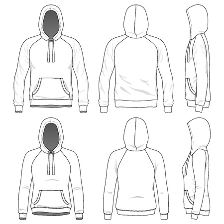 raglan: Blank Mens and Womens raglan hoodies in front, back and side views. Vector illustration. Isolated on white.