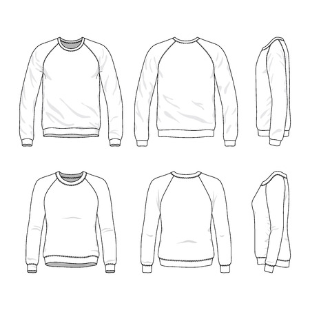 raglan: Blank Mens and Womens raglan sweatshirts in front, back and side views. Vector illustration. Isolated on white.