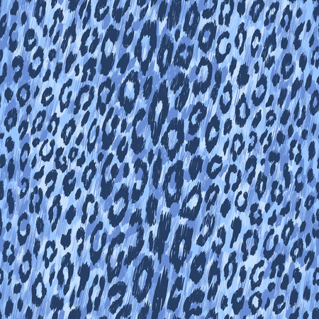 Vector background of blue leopard skin. Seamless pattern.