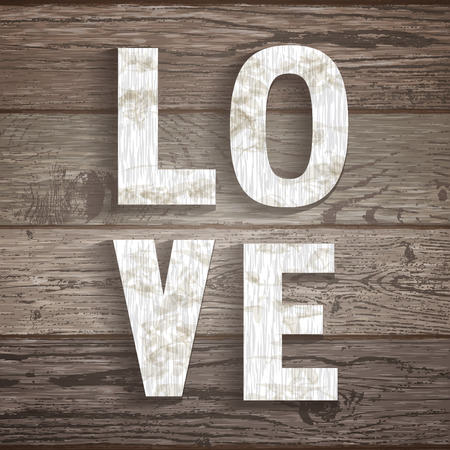 """furnier: Wood texture Vorlage mit der Aufschrift """"Liebe"""". Nat�rliche Holz Hintergrund f�r Ihr Design, Karten oder Poster. Illustration"""