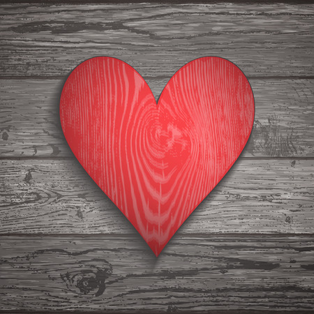 Wood texture template with red heart. Natural wooden background. Vector illustration for your design, cards.