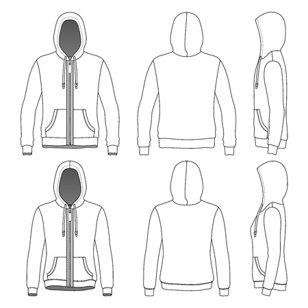 cowl: Mens and Womens hoodies with zipper in front, back and side views. Vector illustration. Isolated on white. Blank clothing templates. Fashion set.