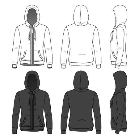 Sudadera con capucha de las mujeres con cremallera en la parte delantera, trasera y lateral. Plantillas de ropa en blanco en colores blanco y negro. Establece la Moda.