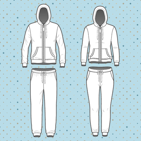 cowl: Front view of mens and womens clothing set. Blank templates of hoodi  with zipper and sweatpants. Sport style. Vector illustration on the spotted background for your fashion design.
