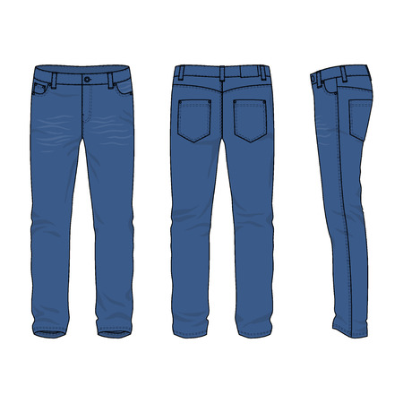 Front, back and side views of blank men's jeans. Vector illustration. Isolated on white. Casual style. Vector illustration for your fashion design.  イラスト・ベクター素材
