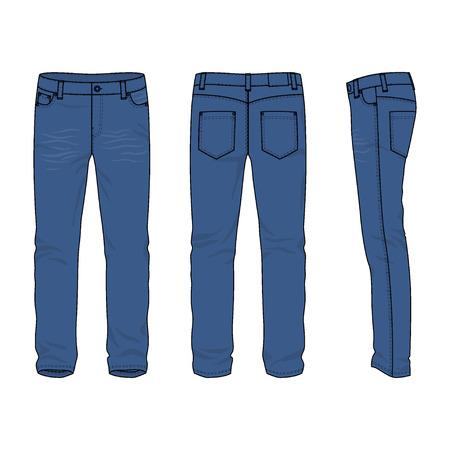 Voorkant, achterkant en zijkant uitzicht van lege mannen jeans. Vector illustratie. Geïsoleerd op wit. Casual stijl. Vector illustratie voor uw fashion design.