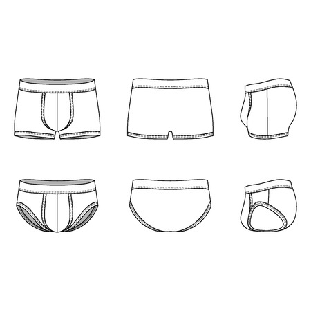 Men's underwear in front, back and side views. Blank templates of shorts and slip. Casual style. Vector illustration for your fashion design. Vettoriali