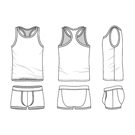 white underwear: Mens clothing underwear set  in front, back and side views. Blank templates of tank top and underpants. Casual style. Vector illustration for your fashion design.