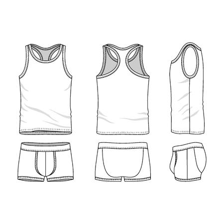 ropa interior: Ropa interior Ropa hombre situado en frente, atr�s y lateral. Plantillas en blanco de las camisetas sin mangas y calzoncillos. Estilo casual. Ilustraci�n vectorial para su dise�o de moda.