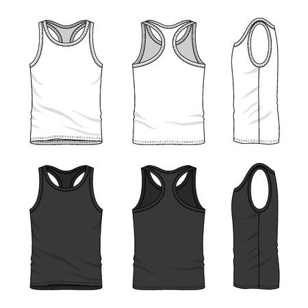 tanque: Tapa del tanque de los hombres en el frente, atrás y lateral. Plantillas en blanco en colores blanco y negro. Estilo casual. Ilustración vectorial para su diseño de moda. Vectores