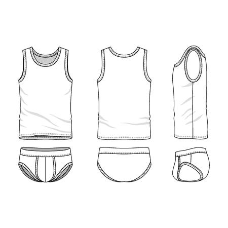 メンズ衣料はアンダーウェア前面に設定されて、戻って、ビュー側します。トップとパンツの空のテンプレート。カジュアル スタイル。あなたのフ