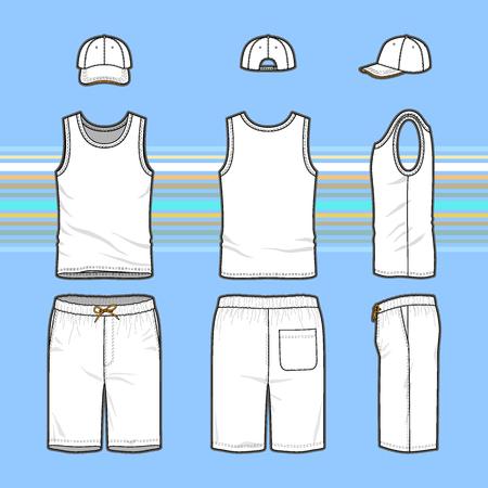前面、背面と側面ビュー メンズ セットの。トップ、キャップ、水泳パンツの空のテンプレート。カジュアル スタイル。ファッション デザインの縞