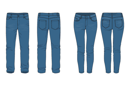 Blank templates of mens and womens jeans in front, back and side views. Vector illustration. Isolated on white. Casual style. Vector illustration for your fashion design.