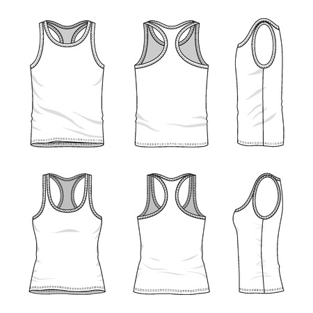 Men's and women's clothing set in front, back and side views. Blank templates of tank tops. Casual style. Vector illustration for your fashion design.