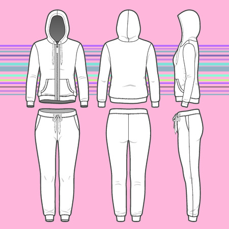 Front, back and side views of women's clothing set. Blank templates of hoodi with zipper and sweatpants. Sport style. Vector illustration on the striped background for your fashion design. Vettoriali