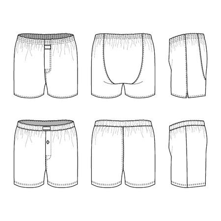 white underwear: Biancheria intima degli uomini vuoti di trova di fronte, posteriore e laterale. Illustrazione vettoriale. Isolati su bianco.