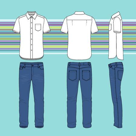 前面、背面と側面ビュー メンズ セットの。シャツとジーンズの空のテンプレート。カジュアル スタイル。ファッション デザインの縞模様の背景の