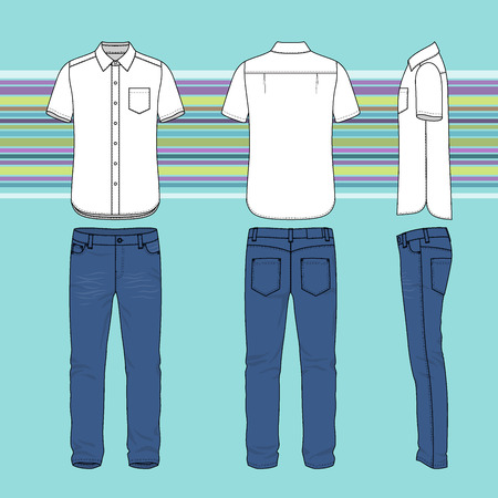 tee shirt template: Front, back and side views of mens set. Blank templates of shirt and jeans. Casual style. Vector illustration on the striped background for your fashion design.