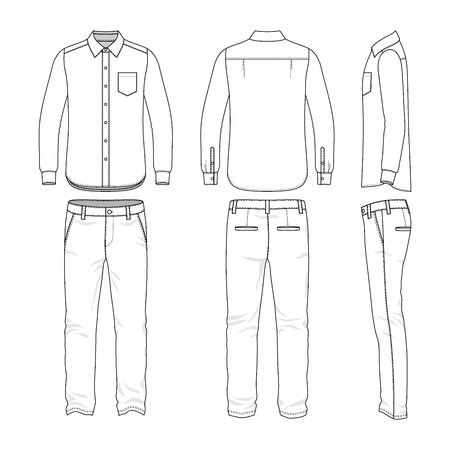 sleeved: Front, back and side views of mens set. Blank templates of shirt and pants. Casual style. Vector illustration for your fashion design.