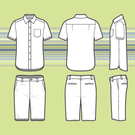 Front, back and side views of men's set. Blank templates of shirt and shorts. Casual style. Vector illustration on the striped background for your fashion design.