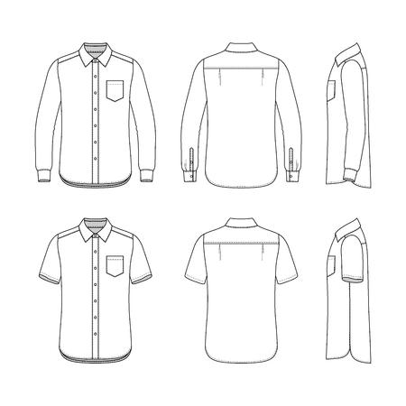 前面、背面と側面ビュー メンズ セットの。短期および長期の袖のシャツの空のテンプレート。カジュアル スタイル。あなたのファッションの設計